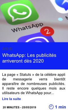 Technologie whatsapp les publicites arriveront des 2020 page001