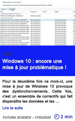Technologie windows 10 encore une mise a jour problematique