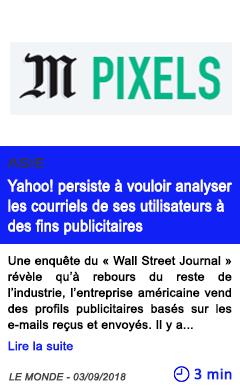 Technologie yahoo persiste a vouloir analyser les courriels de ses utilisateurs a des fins publicitaires