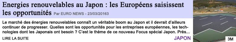 Technologies energies renouvelables au japon les europeens saisissent les opportunites