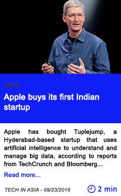 Technology apple buys its first indian startup