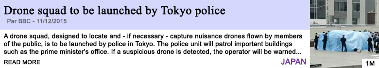 Technology drone squad to be launched by tokyo police