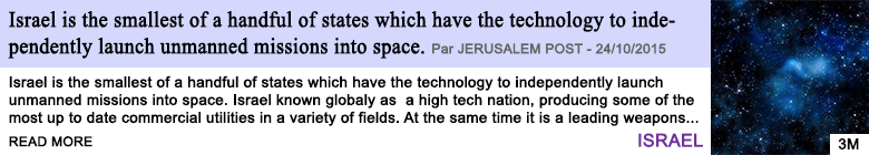 Technology israel is the smallest of a handful of states which have the technology to independently launch unmanned missions into space