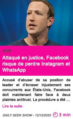 Societe attaque en justice facebook risque de perdre instagram et whatsapp