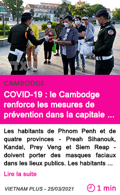 Societe covid 19 le cambodge renforce les mesures de pre vention dans la capitale et quatre provinces