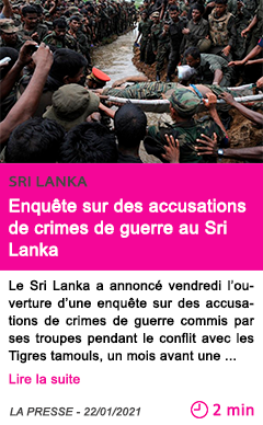 Societe enque te sur des accusations de crimes de guerre au sri lanka