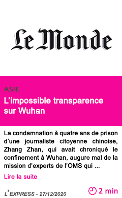 Societe l impossible transparence sur wuhan