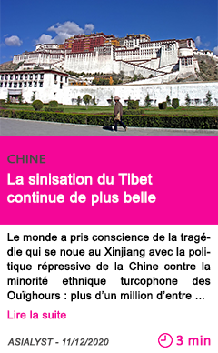 Societe la sinisation du tibet continue de plus belle