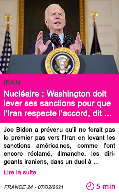 Societe nucle aire washington doit lever ses sanctions pour que l iran respecte l accord dit khamenei